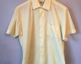 Men's Vintage Yellow Button-up Shirt 60s 70s
