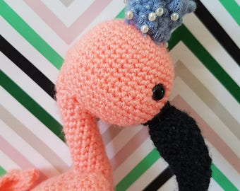 Handmade Crochet Amigurumi Toy Flamingo//Handmade//Selfmade//Crochet//Amigurumi//Toy/Flamingo//Crown//Baby//Babyflamingo