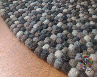 Felt Ball Rugs / 5 Natural Earth Tone / Pom pom rug/ Pebble Rug (Free Shipping)