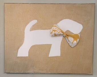 Airedale Terrier Painting with Bow Detail