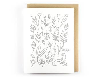 Botanical No. 30 // Letterpress Folding Card // Botanical Print // Plant Lover // Blank Inside Stationery // Handmade Greeting Cards