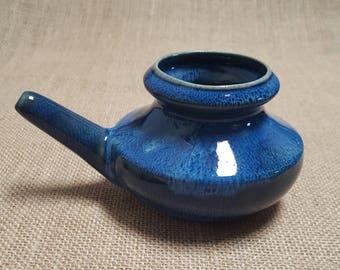 Handmade Ceramic Neti Pot - Double Glazed, Triple Fired- Blue Burst