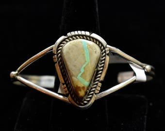 Sterling Silver Bracelet W/Ribbon Turquoise by Calvin Spencer, Navajo SS New Mexico