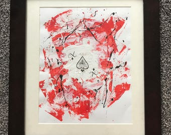 Splattered Ace of Spades Framed Acrylic painting