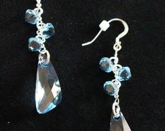 Sterling Silver & Aquamarine Swarovski Crystal Earrings