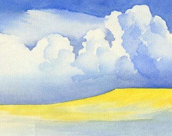 Watercolor North Sea Föhr Beach dike