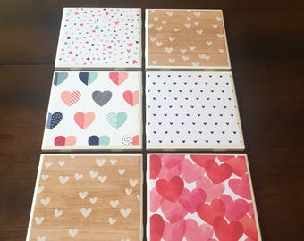 Set of 6 Valentines Day Coasters