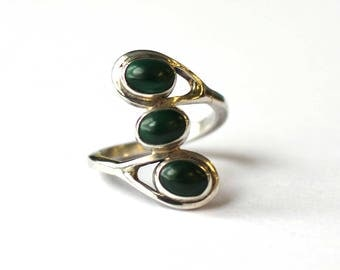 Triple Stone Malachite ring (Large)