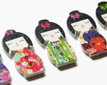 8 Japanese Doll Buttons - Geisha Button - Japanese Girl - Buttons for Scrapbooking - Japan Button - Kawaii - Cute Doll Button - Asian Geiko