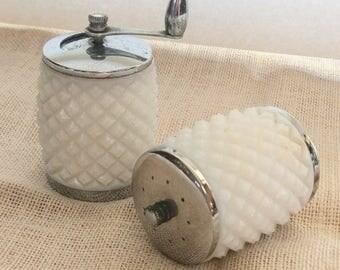 Vintage Milk Glass Salt Shaker & Pepper Grinder by George S. Thompson