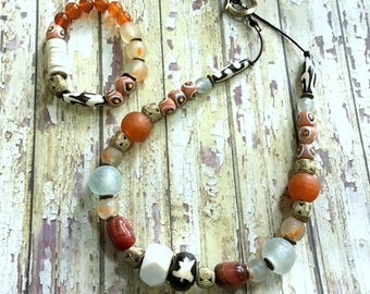 Chunky Afrocentric Necklace and Bracelet- Orange/ Brown/ Cream