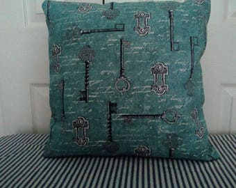 Keys and script old world style cushion, pillow