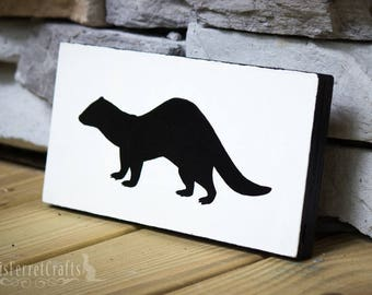 Ferret Silhouette Wood Sign Art Plaque - White
