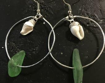 Sea glass/ shells hoop earrings