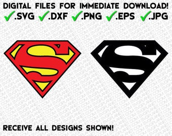 SUPERMAN logo in 5 file formats (svg, dxf, png, eps, jpg) download instantly!! image vector clipart files for cricut silhouette