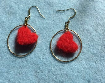 Felted Heart Dangle Earrings