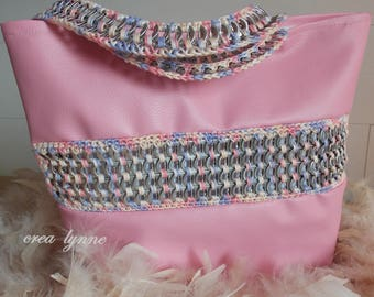 Recycled aluminum and skai pink tote bag, handmade