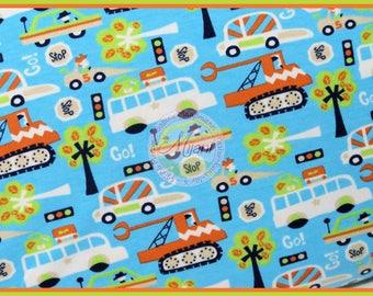 Kunterbunter joy vehicles cars Jersey blue fabric
