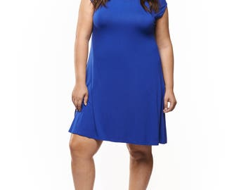DEX Royal Blue Dress Plus Size 1x 2x 3x