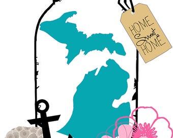 Map in a Mason Jar: Michigan