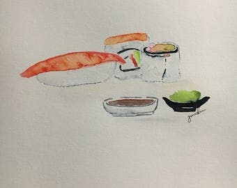 Watercolor Sushi Print