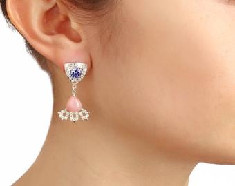 Sterling earrings, silver earrings, opal earrings, pink opal earrings, triangle earrings, swarowski earrings