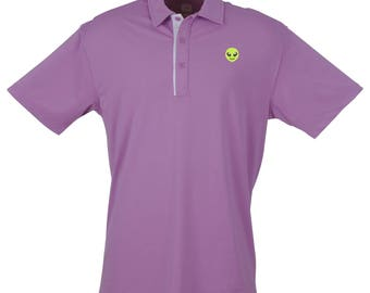 Poloji's Green Alien Emoji Performance Polo