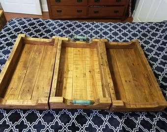 Decorative Pallet Wood Tray w/Turquoise & Blue Handles