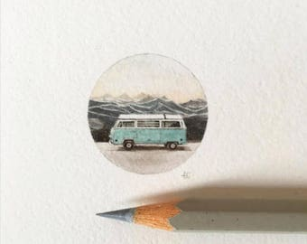 Watercolor & Gouache Miniature Painting - VW Love (Mountains of Utah)