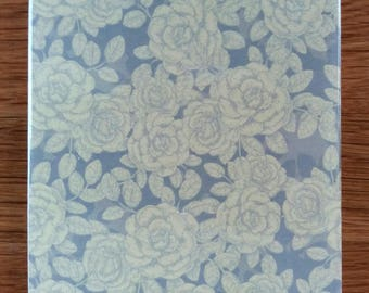 Grey and White Roses Floral Pattern Ceramic Wall Tile