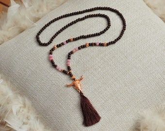 Gorgeous dark brown necklace with elements in lilac and Rosé gold