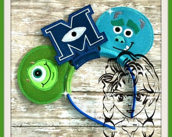MoNSTER BlUE GReeN Inspired Character (3 Piece) Mr Ms Mouse Ears Headband ~ In the Hoop ~ Downloadable DiGiTaL Machine Emb Design by Carrie