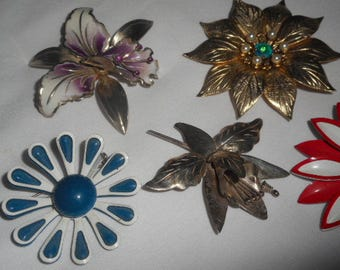 Vintage Brooches Pins Jewellery Flowers Taxco Enamel Metal Lot Of 5
