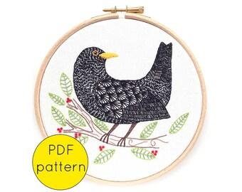 Blackbird Bird Embroidery Hoop Art Pattern, PDF Instant Download Embroidery Pattern
