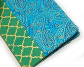 Kindle Paperwhite cover - Sultan's Treasure - case for Kindle Touch, hardcover eReader cover - paisley lattice - green and turquoise exotic