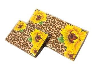 checkbook cover and debit card holder set - Leopard Sunflower