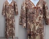 60s to 70s Vintage Hawaiian Maxi Dress / Brown Batik by Lola Liberty House / Sz Sml - Med