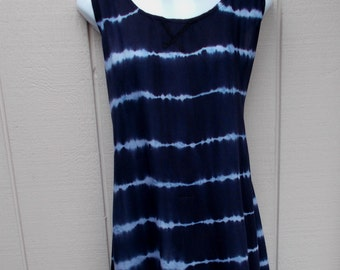 Dark Blue Rayon Tie Dye Dress / Long Tunic Tent Smock FESTIVAL Hippie BOHO / Med - Lge