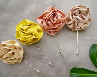 Set of 4 silk flower lapel pin, wedding lapel pin, lapel flower,butter yellow,yellow,peach,champagne, rose boutonniere,, stick pin