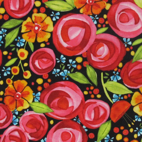 FAT EIGHTH Wild By Nature Bright Floral Print on Black Background Quilting Cotton Fabric