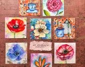 One set of 8 art stickers journal planner stationery nature floral design coffee