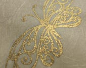 12 sheets gold butterfly paper