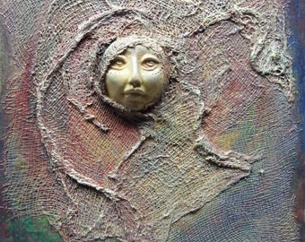 Moon Dancer, assemblage painting, polymer clay on canvas, hand crafted, original art