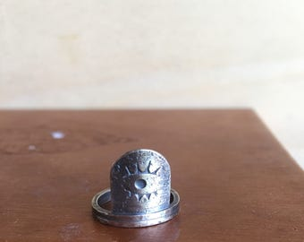 Evil Eye Ring - Sterling Silver Hand Stamped Ring - Ready to Ship