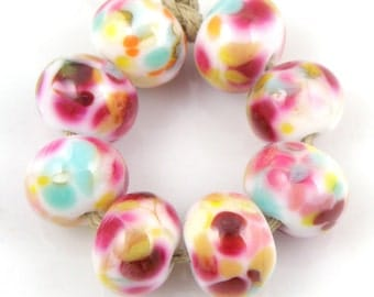 Summer Picnic - Handmade Artisan Lampwork Glass Beads 8mmx12mm - Blue, Pink, Gold - SRA (Set of 8 Beads)
