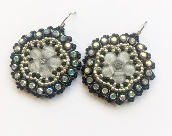 Black & Silver Flower Beaded Earrings