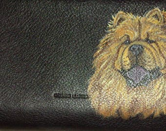 Red Chow Chow Dog Custom Painted Ladies Leather Wallet