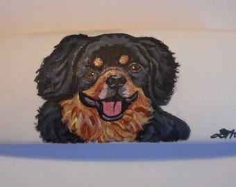 Black and tan Tibetan Spaniel Dog Hand Painted Eyeglass Case Vegan