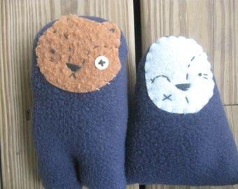 Two Small Friends blue plush dolls