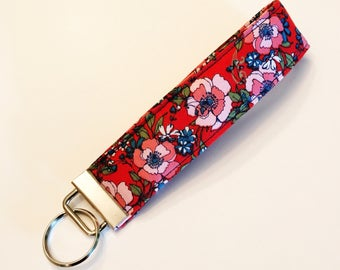 SALE Red and Pink Floral Wristlet Key Fob